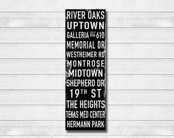 "HOUSTON Bus Scroll, Destination Poster, Subway Canvas, Rolled or Framed Canvas, 20"" x 60"""