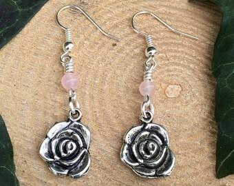 Silver Rose Rose Quartz Earrings