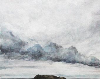 Original watercolour painting Ocean storm