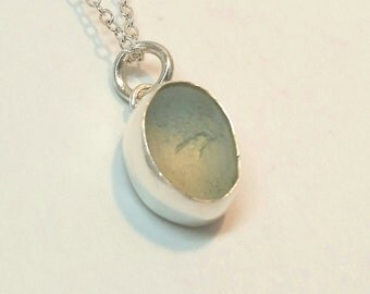 Opalescent English Sea Glass Sterling Pendant