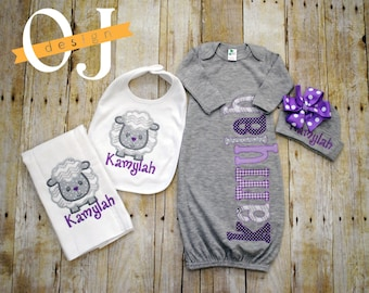 Personalized Baby Girl Gift Set - Newborn Gift Set - Infant Gown -  Newborn Hat - Bib - Burp Cloth - Baby Shower - Gray Purple Lamb