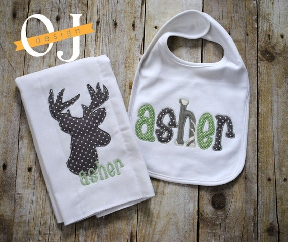 Baby Boy Gifts With Name : Personalized baby boy deer name gift set light green and