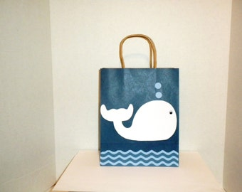 Whale Gift Bag-Large Gift Bags, Gift Bags, Baby Shower Gift Bags, Paper Gift Bags,Paper Bags, Nautical Gift Bags