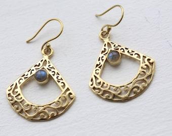 Tribal Earrings, Brass Earring, Labradorite Earring, Brass boho earrings, indian style, gypsy earrings, Labradorite Brass Earrings