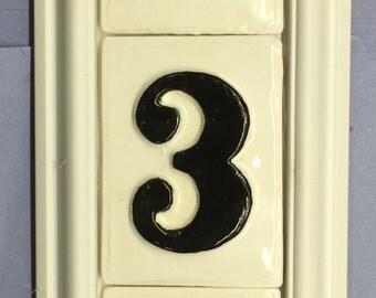 3 number address tile framed plaque with tiles included.