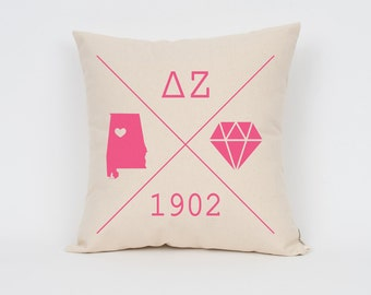 Delta Zeta Icons Custom Pillow / Sorority Pillow / Greek Letter Pillow / Sorority Gift / Big Little Gift/ Bid Day Gift / Initiation Gift