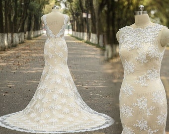 Vintage Wedding Dress,Handmade Lace Mermaid Wedding Gowns,SweepTrain White/Ivory Lace Bridal Gowns