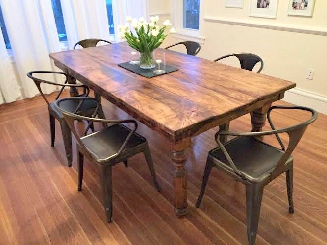 Farmhouse Table With Reclaimed Barn Wood Thick Spindle Legs