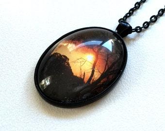 Sunset Photograph Pendant Necklace Silver Copper Black