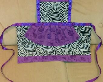 Zebra with purple kids apron 3T