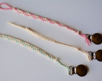 Cream Collection: Leather Braided Binky Clip -(Pacifier Clip, boy, girl, gender neutral, faux suede, cream, ivory, pink, mint, pastel)