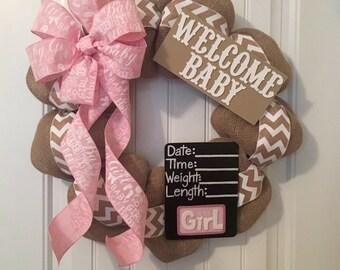 Gender Neutral Burlap Chevron Baby Wreath for hospital door with both Boy and Girl Chalkboard shower gift birthday newborn