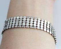 Silver disc metal mesh adjustable bracelet, silver disc bracelet, mesh bracelet, adjustable bracelet, bracelet gift, christmas gift