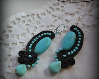Earrings  soutache turquoise and glass beads black