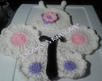 Crochet butterfly newborn photo prop