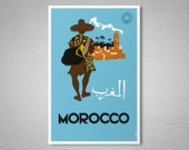 Morocco Vintage  Travel Poster -  Art Print - Poster Paper, Sticker or Canvas Giclee Print