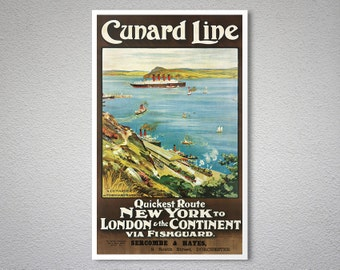 Cunard Line New York to London Vintage Travel Poster  - Poster Print, Sticker or Canvas Print