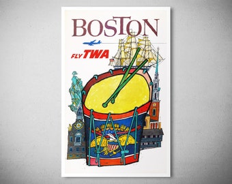 Boston  Fly TWA - Vintage Airline Poster - Giclee Prints on 300 gr. Fine Art Paper