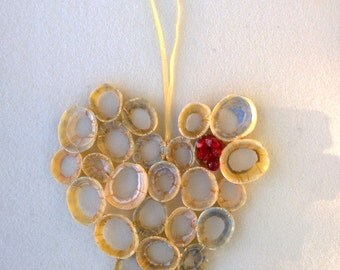 Deco Heart ~ handcrafted shell  heart, Deco glass detail, gold thread highlights.