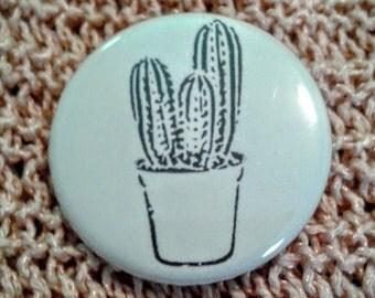 White and Black Cactus Pinback Button
