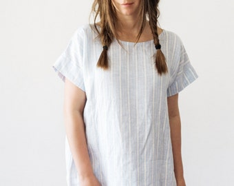 Linen Dress/Tunic -Short Sleeve - Stripes