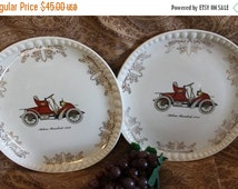 Fall CLEARANCE Sale Rare Set of 2 Crooksville China Dinner Plates featuring 1902 Autocar Runabout