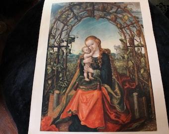Madonna in the Arbor Fine Art Lithograph by Cranach Lucas The Elder - German Renaissance