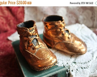 Fall CLEARANCE Sale Vintage Copper Coated Baby Shoes