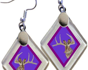 "Earrings ""Jackalope"" (violet) from rescued, repurposed window glass~Lightening landfills one tiny glass diamond at a time!"