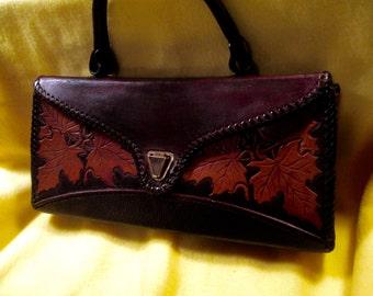 Custom Vintage Western Tooled Handbag with Maple Leaf hand carved design.