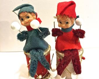 Vintage Christmas Elf, Christmas Pixie, Drum, Christmas Ornament,  Retro Christmas, Lot of 2, Made in Japan, Circa 1950s
