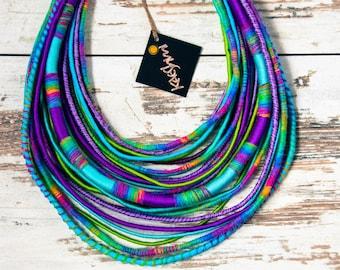 "UNICORN - unique yarn ""Maasai"" necklace (ethnic, boho, eco, hippie, folk)"