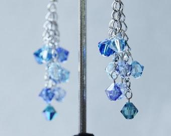 Blue and Aqua Cascade Earrings