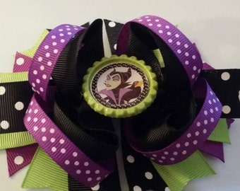 Maleficent Inspired Boutique Stacked Hair Bow-Maleficent Birthday Hair Bow