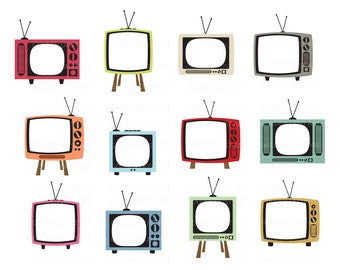 20% OFF SALE Vintage TV Digital Clipart, Retro Tv, Digital Clipart, Vintage Television, Cute Vintage, Cute Retro, Televison Digital