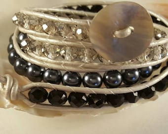 Beaded pearly leather triple wrap bracelet