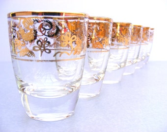 Set of six gilded shot glasses