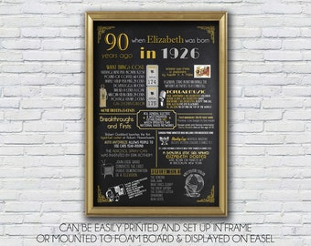 Personalized 90th Birthday Poster, 1925 or 1926 poster file, 1925 Events, Milestone Birthday, anniversary  - High Resolution Digital File