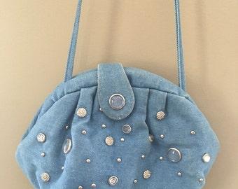 SALE*** Vintage 80's Denim Embellished Purse
