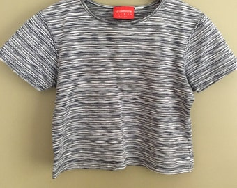 Vintage Liz Claiborne Striped Stretchy Thick Weight Knit Crop Top