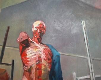 Large surrealist oil painting portrait