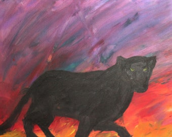 Expressionist black panther oil painting