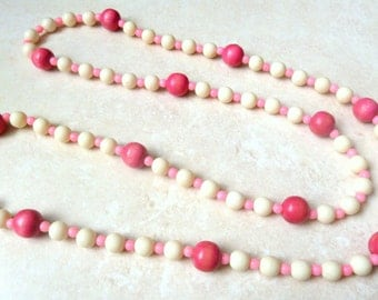 Vintage Necklace Long White And Candy Pink Beads.