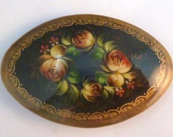 Vintage Floral Design Hand Painted Russian Lacquer Brooch.