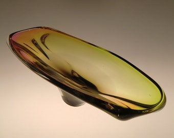 Czech Bohemian Borocrystal Art Glass Bowl by Josef Rozinek