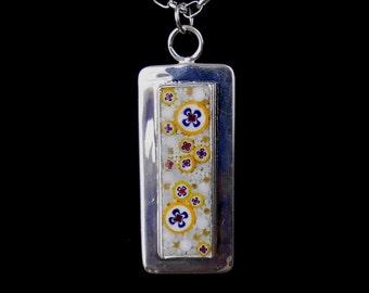 Elegant Pendant / Yellow and White Micro-Mosaic Pendant/ JP565