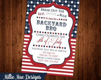 SALE 50% OFF Custom 4th of July Invitation