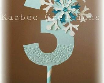 Number 3 Frozen Inspired Cake Topper