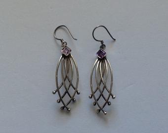 925 Sterling Silver Amethyst Wire Earring