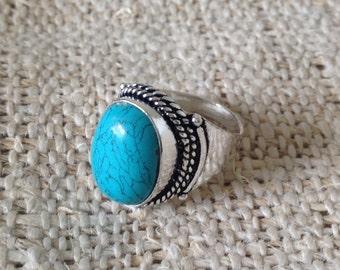 Turquoise Tibetan Silver Ring